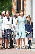 Queen Sofia of Spain, Queen Letizia of Spain, Crown Princess Leonor, Princess Sofia arrived Asuncion de Nuestra Senora Church for the First Communion of Princess Sofia on May 17, 2017 in Aravaca near of Madrid.