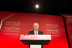 © Licensed to London News Pictures. 20/02/2016. Llandudno UK. Welsh Labour Leader & first Minister Carwyn Jones delivers his keynote address at the Welsh Labour Party conference in Wales. Photo credit: Andrew McCaren/LNP