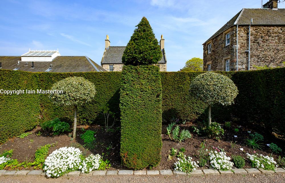 View of Dunbar's Close Garden off Canongate in Edinburgh Old Town, Scotland, United Kingdom