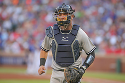 May 23, 2018 - Arlington, TX, U.S. - ARLINGTON, TX - MAY 23: New York Yankees catcher Austin Romine (28) comes off the field between innings during the game between the New York Yankees and the Texas Rangers on May 23, 2018 at Globe Life Park in Arlington, TX. (Photo by George Walker/Icon Sportswire) (Credit Image: © George Walker/Icon SMI via ZUMA Press)