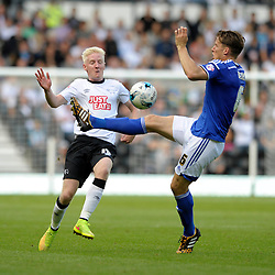 Derby County's Will Hughes is challenged by Ipswich Town's Christophe Berra - Photo mandatory by-line: Dougie Allward/JMP - Mobile: 07966 386802 30/08/2014 - SPORT - FOOTBALL - Derby - iPro Stadium - Derby County v Ipswich Town - Sky Bet Championship