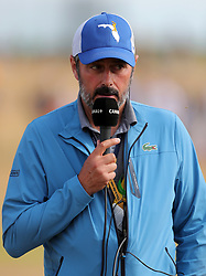 Jean van de Velde commentating during day three of The Open Championship 2018 at Carnoustie Golf Links, Angus. PRESS ASSOCIATION Photo. Picture date: Saturday July 21, 2018. See PA story GOLF Open. Photo credit should read: Richard Sellers/PA Wire. RESTRICTIONS: Editorial use only. No commercial use. Still image use only. The Open Championship logo and clear link to The Open website (TheOpen.com) to be included on website publishing.