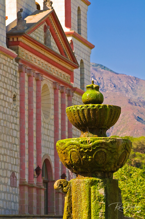 Spanish fountain at the Santa Barbara Mission (Queen of the missions), Santa Barbara, California