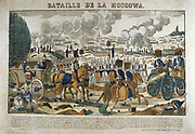 The Battle of Moscow, 7 September 1812.  The French army outside Moscow.  Popular French hand-coloured woodcut.