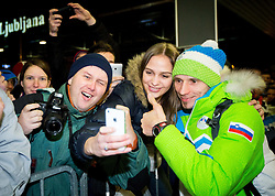 Robert Kranjec  at reception of Slovenia team arrived from Winter Olympic Games Sochi 2014 on February 19, 2014 at Airport Joze Pucnik, Brnik, Slovenia. Photo by Vid Ponikvar / Sportida