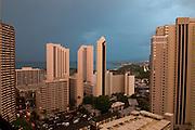 Waikiki hotels and condos at sunrise.