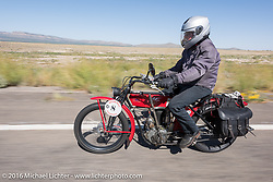 Joe Gimpel of Florida riding his Class-1 single-cylinder single-speed 1913 Thor during the Motorcycle Cannonball Race of the Century. Stage-13 ride from Williams, AZ to Lake Havasu CIty, AZ. USA. Friday September 23, 2016. Photography ©2016 Michael Lichter.