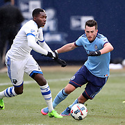 NEW YORK, NEW YORK - March 18:  Ambroise Oyongo #2 of Montreal Impact is challenged by Jack Harrison #11 of New York City FC during the New York City FC Vs Montreal Impact regular season MLS game at Yankee Stadium on March 18, 2017 in New York City. (Photo by Tim Clayton/Corbis via Getty Images)