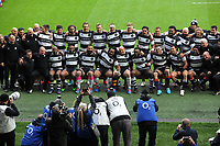 Rugby Union - 2019 Killick Cup - Barbarians vs. Fiji<br /> <br /> Barbarians team group link arms, at Twickenham.<br /> <br /> COLORSPORT/ANDREW COWIE