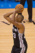 June 2, 2012; Oklahoma City, OK, USA; San Antonio Spurs center Doris Diaw (33) takes a shot during a playoff game against the Oklahoma City Thunder at Chesapeake Energy Arena.  Thunder defeated the Spurs 109-103 Mandatory Credit: Beth Hall-US PRESSWIRE