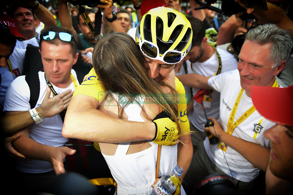July 29, 2018 - Paris, FRANCE - British Geraint Thomas of Team Sky and his wife celebrate after the last stage of the 105th edition of the Tour de France cycling race, 116km from Houilles to Paris, France, Sunday 29 July 2018. This year's Tour de France takes place from July 7th to July 29th. BELGA PHOTO YORICK JANSENS (Credit Image: © Yorick Jansens/Belga via ZUMA Press)