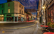 Vibrant streets at dusk in downtown Galway, Ireland