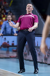September 17, 2018 - Madrid, Spain - Coach Arnis Vecvagars of Latvia during the FIBA Basketball World Cup Qualifier match Spain against Latvia at Wizink Center in Madrid, Spain. September 17, 2018. (Credit Image: © Coolmedia/NurPhoto/ZUMA Press)