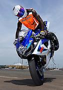 Stunt rider from Georgia on GSXR-1000 at Biker Boyz show in Tulsa, Oklahoma