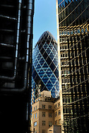 The Lloyds Building, Swiss Re building (The Gherkin) and the Willis Building, Leadenhall Street, London, Britain