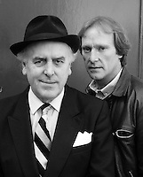 British actors George Cole and Dennis Waterman seen on the set of the TV series 'Minder' in London in 1984. Photographed by Terry Fincher