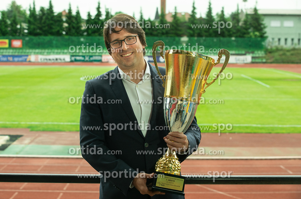 Luka Brezovec, president during celebration of NK Bravo, winning team in 2nd Slovenian Football League in season 2018/19 after they qualified to Prva Liga, on May 26th, 2019, in Stadium ZAK, Ljubljana, Slovenia. Photo by Vid Ponikvar / Sportida