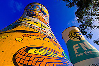 Beautifully painted cooling towers of a coal power plant in Soweto (formerly 38 townships, the South Western Townships were renamed Soweto in 1963),  Johannesburg, South Africa