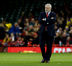 Head Coach Warren Gatland of Wales during the pre match warm up<br /> <br /> Photographer Simon King/Replay Images<br /> <br /> Under Armour Series - Wales v Australia - Saturday 10th November 2018 - Principality Stadium - Cardiff<br /> <br /> World Copyright © Replay Images . All rights reserved. info@replayimages.co.uk - http://replayimages.co.uk