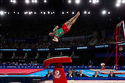 Mcc0055084 . Daily Telegraph<br /> <br /> Wales' Clinton Purnell on the Vault in the Men's Individual Artistic Gymnastics on Day 7 of the 2014 Commonwealth Games .<br /> <br /> 30 July 2014