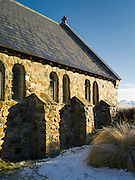 Morning sun falls over the Church of the Good Sheperd, on the shore of Lake Tekapo, New Zealand.