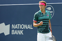August 9, 2018 - Toronto, Ontario, Canada - ALEXANDER ZVEREV of Germany in action in his third round match vs.D. Medvedev in the Rogers Cup tennis tournament in Toronto Canada. (Credit Image: © Christopher Levy via ZUMA Wire)