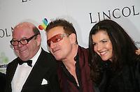 Paul McGuinness, Bono, Ali Hewson, at the Lincoln film premiere Savoy Cinema in Dublin, Ireland. Sunday 20th January 2013.