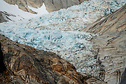 """Pollone Glacier seen from Lago Pollone, near El Chalten, Santa Cruz Province, Argentina, Patagonia, South America. We hiked the scenic Rio Electrico Valley to Refugio Piedra del Fraile (""""Stone of the Friar"""", 14.5 km round trip). From the refuge, a rewarding day hike visits Lago Pollone (8.5 km round trip with 320 m gain)."""