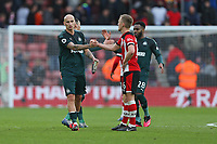 Football - 2019 / 2020 Premier League - Southampton vs. Newcastle United<br /> <br /> Jonjo Shelvey of Newcastle and Southampton's James Ward-Prowse shake hands after the final whistle at St Mary's Stadium Southampton<br /> <br /> COLORSPORT/SHAUN BOGGUST
