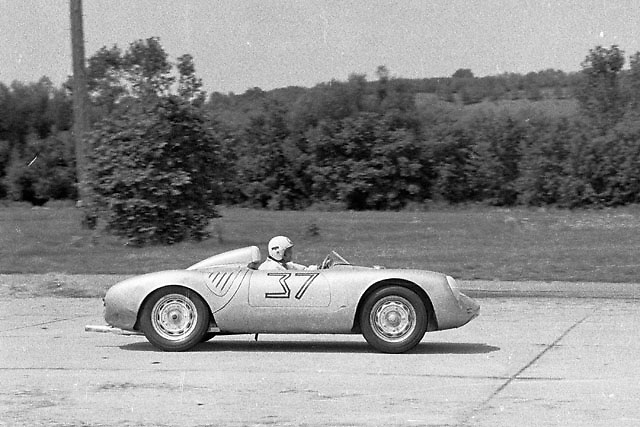 Briggs Cunningham in Porsche 550 at Montgomery airport circuit, NY state, in 1958