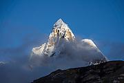 Mount Jirishanca (Icy Beak of the Hummingbird, 6126 m or 20,098 feet) in the Cordillera Huayhuash, Andes Mountains, Peru, South America. Day 3 of 9 days trekking around the Cordillera Huayhuash.