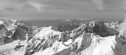 Aerial view of Denali (Mt. McKinley) and the Alaska Range on a sightseeing flight from Talkeetna, Alaska.