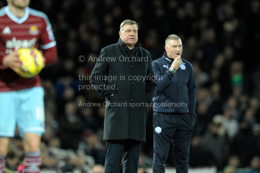 West Ham United manager Sam Allardyce watching his players from the touchline. Barclays Premier league match, West Ham Utd v Leicester city at the Boleyn ground, Upton Park in London on Sat 20th December 2014.<br /> pic by John Patrick Fletcher, Andrew Orchard sports photography.