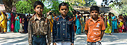 Indian boys in western clothes at Vishwanatha Temple (Birla Temple) during Festival of Shivaratri in holy city of Varanasi, India
