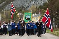 National Day - 17th of May parade through village or Ramberg, Flakstadøy, Lofoten Islands, Norway
