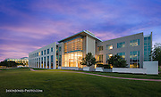 Commercial Office complex architecturally photographed at dusk