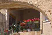 Southern France, Aubai, Rose Flower Box, Archway, Medieval Village