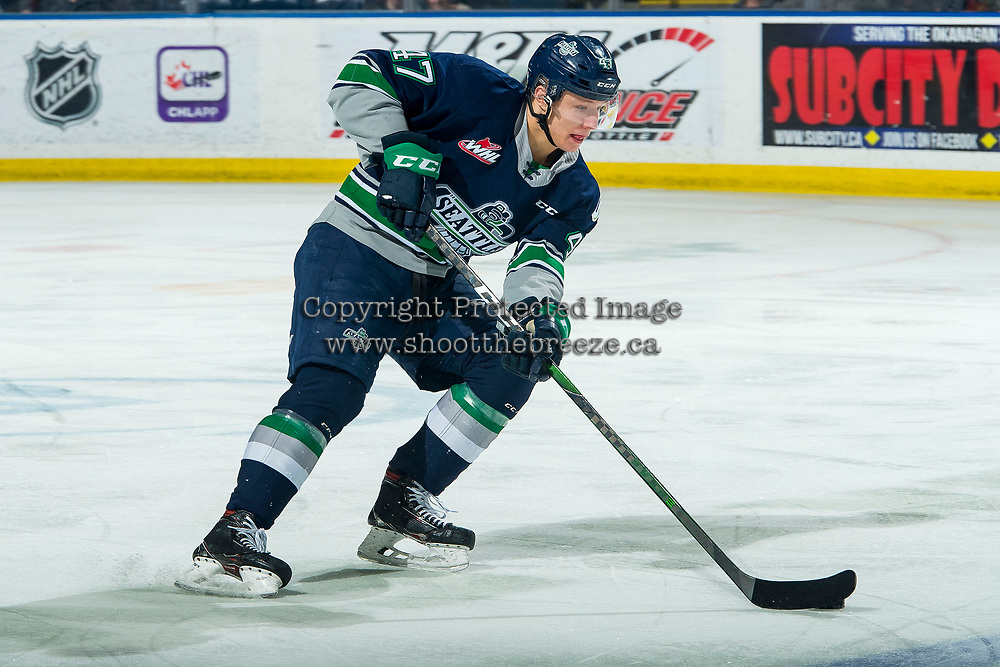 KELOWNA, BC - MARCH 6: Lucas Ciona #47 of the Seattle Thunderbirds skates with the puck during the first period against the Kelowna Rockets at Prospera Place on March 6, 2020 in Kelowna, Canada. (Photo by Marissa Baecker/Shoot the Breeze)