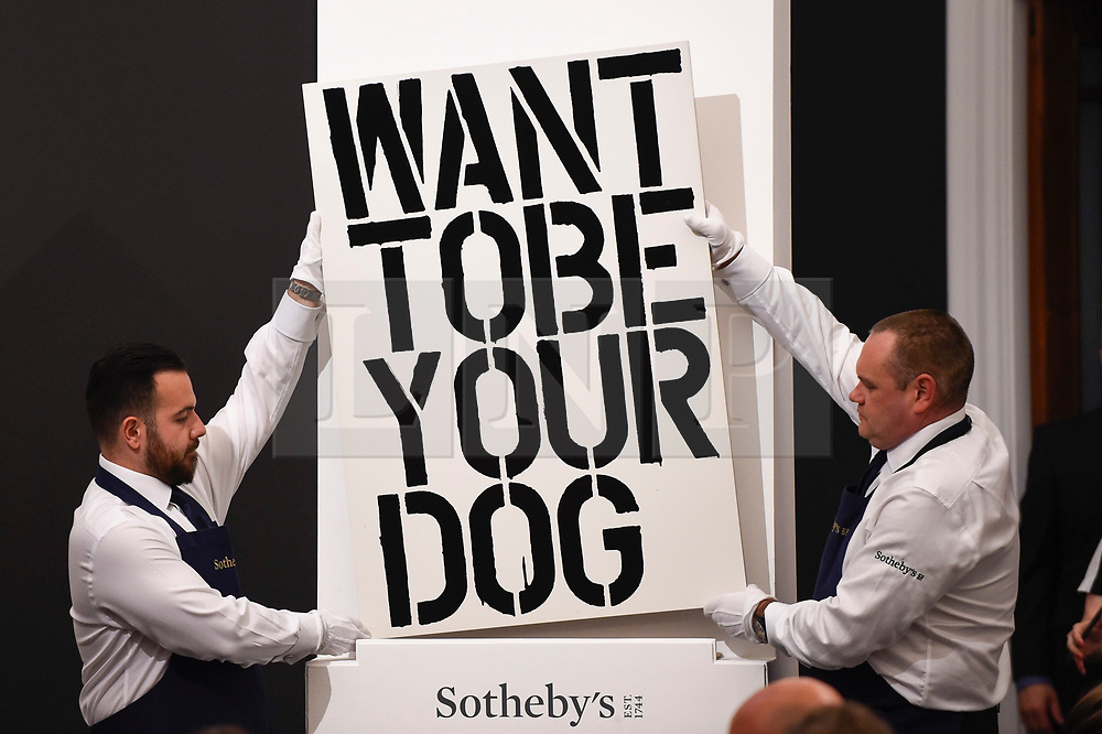 © Licensed to London News Pictures. 26/06/2019. LONDON, UK. ''Untitled'' by Christopher Wool, (Est. £3,000,000 - 5,000,000) sold for a hammer price of £2,600,000 at Sotheby's Contemporary Art Evening Sale in their New Bond Street galleries.  Photo credit: Stephen Chung/LNP