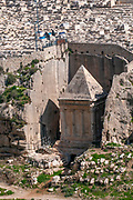 The Tomb of Zechariah is an ancient stone monument adjacent to the Tomb of Benei Hezir that is considered in Jewish tradition to be the tomb of Zechariah ben Jehoiada. Kidron valley, Jerusalem