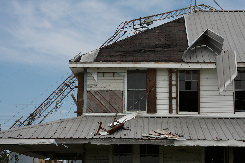 Detail of Hurricane Damage to Bar Pilot House, Pilottown, LA