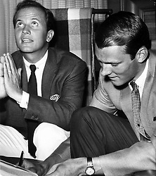 American Basketball Association Oakland Oaks team owner, singer Pat Boone's prayer is answered by the signing of Warrior star Rick Barry. 1967. (photo by Ron Riesterer)