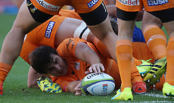 Lodewyk de Jager of the Cheetahs releases the ball during the Super Rugby match between the DHL Stormers and the Toyota Cheetahs held at DHL Newlands rugby stadium in Newlands, Cape Town, South Africa on the 28th May 2016<br /> <br /> Photo by: Ron Gaunt / SPORTZPICS