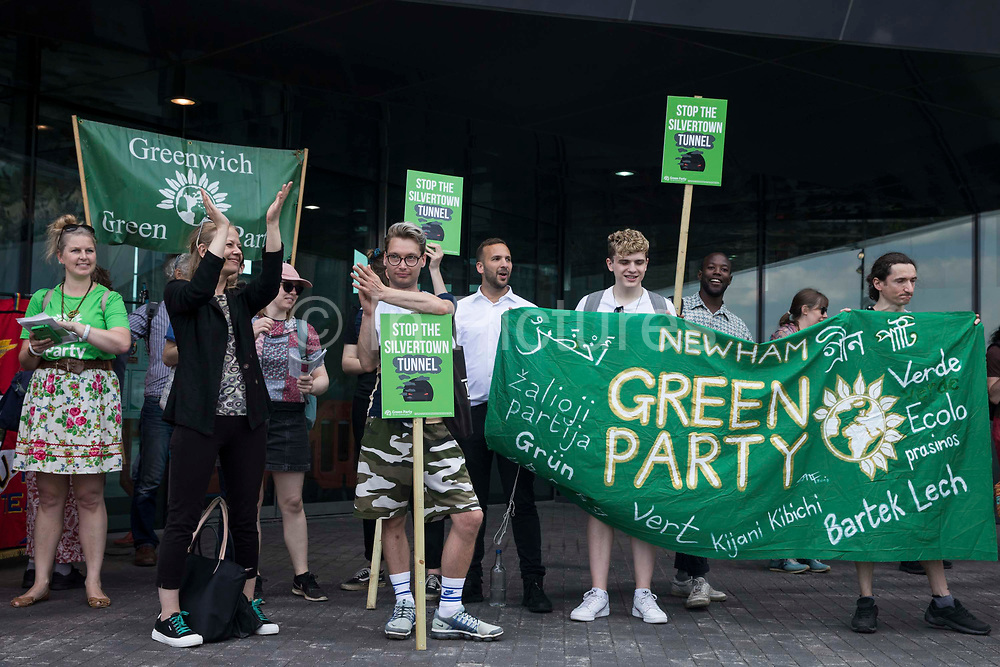 Sian Berry, co-leader of the Green Party, joins Newham Green Party members and local residents protesting against the construction of the Silvertown Tunnel on 5th June 2021 in London, United Kingdom. Campaigners opposed to the controversial new £2bn road link across the River Thames from the Tidal Basin Roundabout in Silvertown to Greenwich Peninsula argue that it is incompatible with the UKs climate change commitments because it will attract more traffic and so also increased congestion and air pollution to the most polluted borough of London.