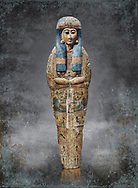Ancient Egyptian sarcophagus inner coffin of  singer Tabakenkhonsu, Temple of Hatshepsut at Deir el-Bahri. Thebes, 2nd half of 21st Dynasty, 680–670 B.C. Egyptian Museum, Turin. white background.<br /> <br /> The deceased is depicted with her hands rendered in high relief on top of a wesekh collar. a stylistic trait that allows the coffin to be dated from the late 21st Dynsaty. the inner coffin is of great quality depicting mythological scenes derived from the Book of the Dead spells.