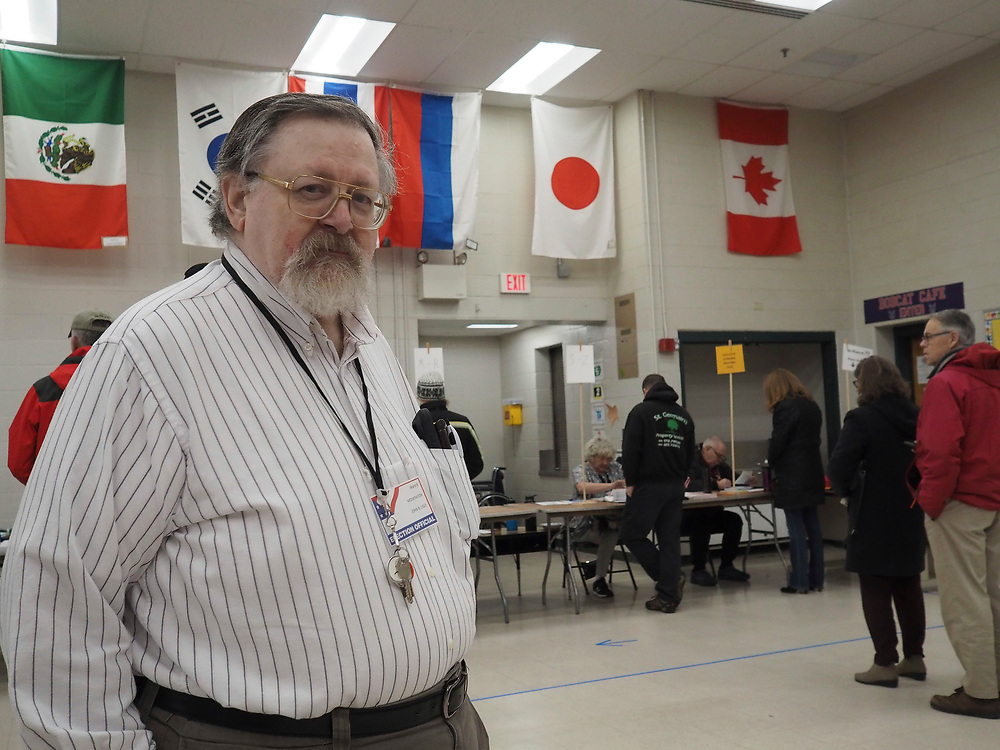 Voting Monitor John B. Lisle oversees Nashua, New Hampshire's Ward 8 polling site. This is an elected position.