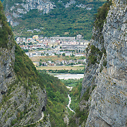 LONGARONE, ITALY - SEPTEMBER 28:  The village of Longarone is seen beyond the Vajont mountains on September 28, 2013 in Longarone, Italy. The Vajont Dam tragedy happened on the night of the October 9, 1963, when a landslide broke away from Monte Toc and fell into the Vajont River, causing a wave that struck the neighboring towns and killing more than 2000 people.  (Photo by Marco Secchi/Getty Images)