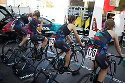 CANYON//SRAM Racing riders warm up for the Crescent Vargarda - a 42.5 km team time trial, starting and finishing in Vargarda on August 11, 2017, in Vastra Gotaland, Sweden. (Photo by Balint Hamvas/Velofocus.com)
