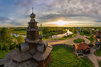 Aerial view of Suzdal during the sunset, Russia
