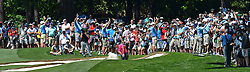 May 3, 2018 - Charlotte, NC, USA - Tiger Woods is the center of attention from the gallery as he hits from a sand trap along the 7th fairway during he first round of the Wells Fargo Championship at Quail Hollow Club in Charlotte, N.C., on Thursday, May 3, 2018. (Credit Image: © Jeff Siner/TNS via ZUMA Wire)